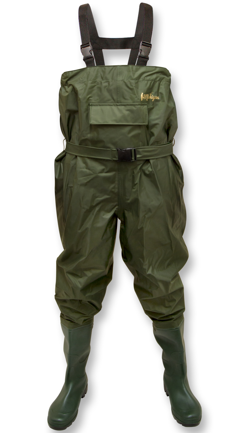 Michigan nylon chest waders including belt olive for Chest waders for fishing