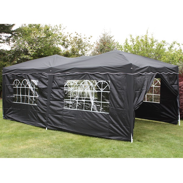 Andes 6m x 3m Folding Gazebo Side Wall Pack - BLACK 1 DOOR