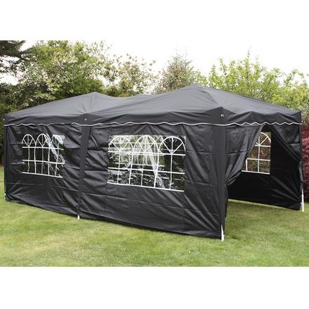 Andes 6m x 3m Folding Gazebo Side Wall Pack - BLACK 1 DOOR
