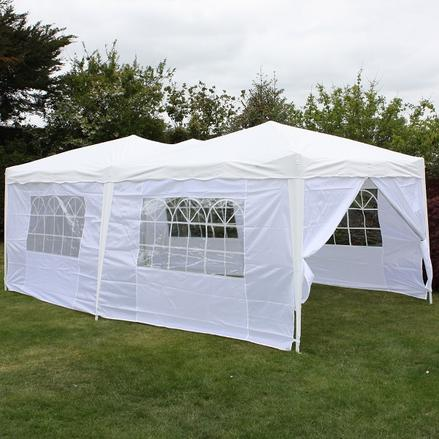 Andes 6m x 3m Folding Gazebo Side Wall Pack - WHITE 1 DOOR