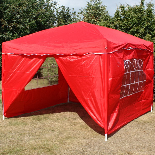 Andes 3m x 3m Folding Gazebo Side Wall Pack - RED