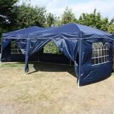 Andes 6m x 3m Folding Gazebo Side Wall Pack - NAVY BLUE 2 DOORS