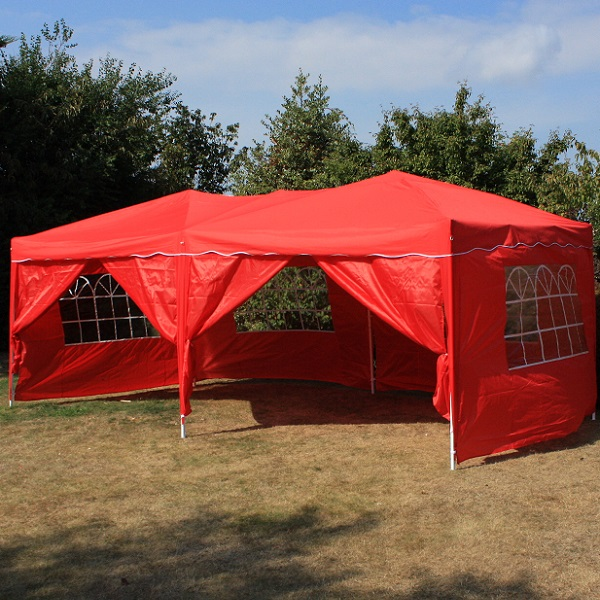 Andes 6m x 3m Folding Gazebo Side Wall Pack - RED 2 DOORS
