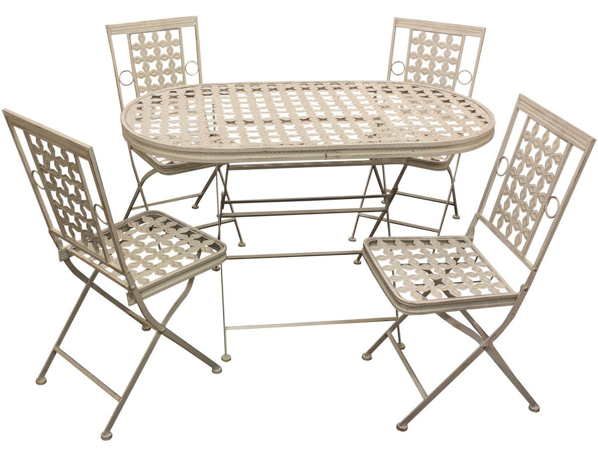 Woodside Oval Metal Table & Four Square Chairs