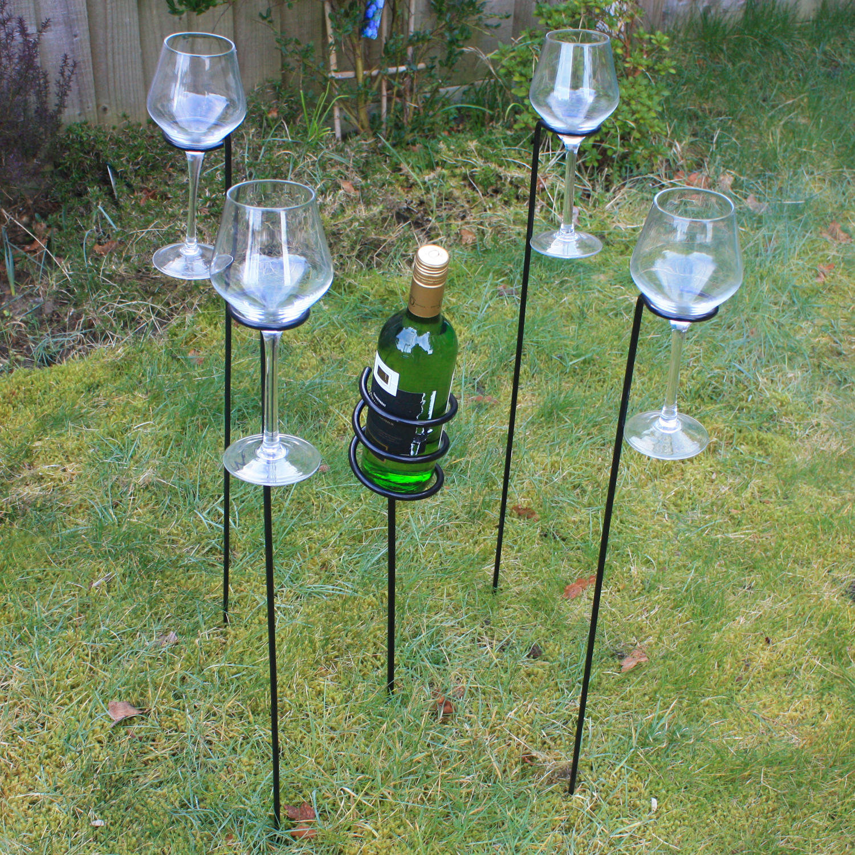 Woodside Outdoor Wine Bottle Glass Holder Set Woodside Outdoor