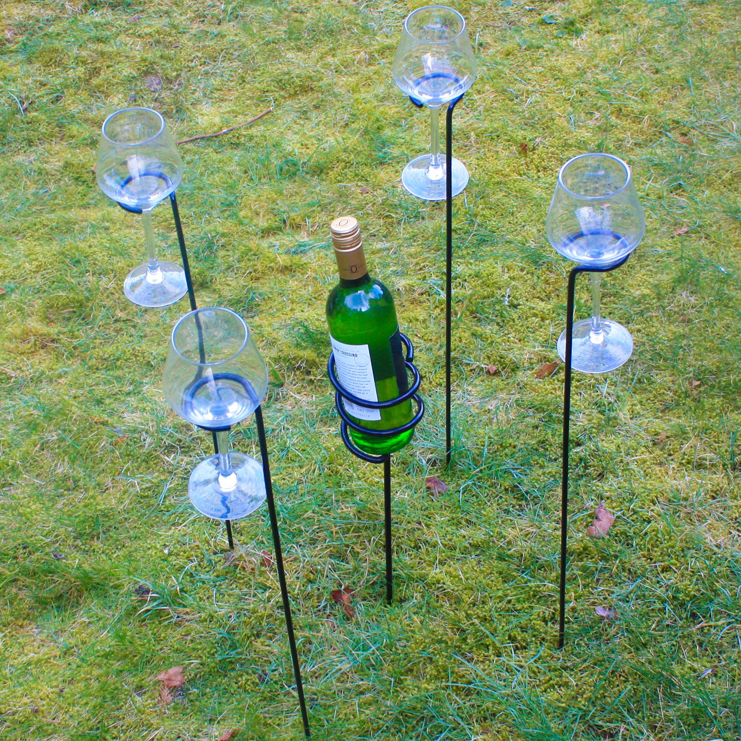 Wine Gl And Bottle Holder Stake Set For Outdoor Bbq S Garden
