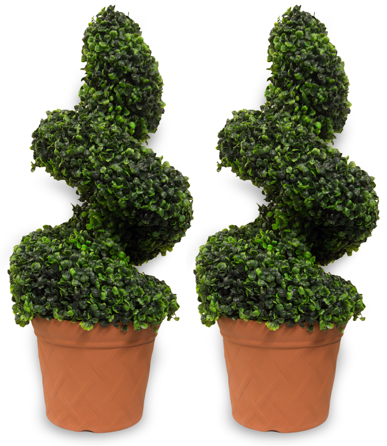 woodside artificial topiary swirl trees 2 pack | ornamental Artificial Topiary Trees