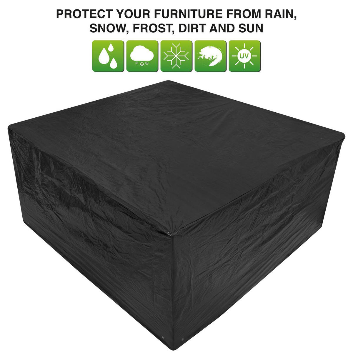 Woodside Medium Oval Patio Set Cover BLACK