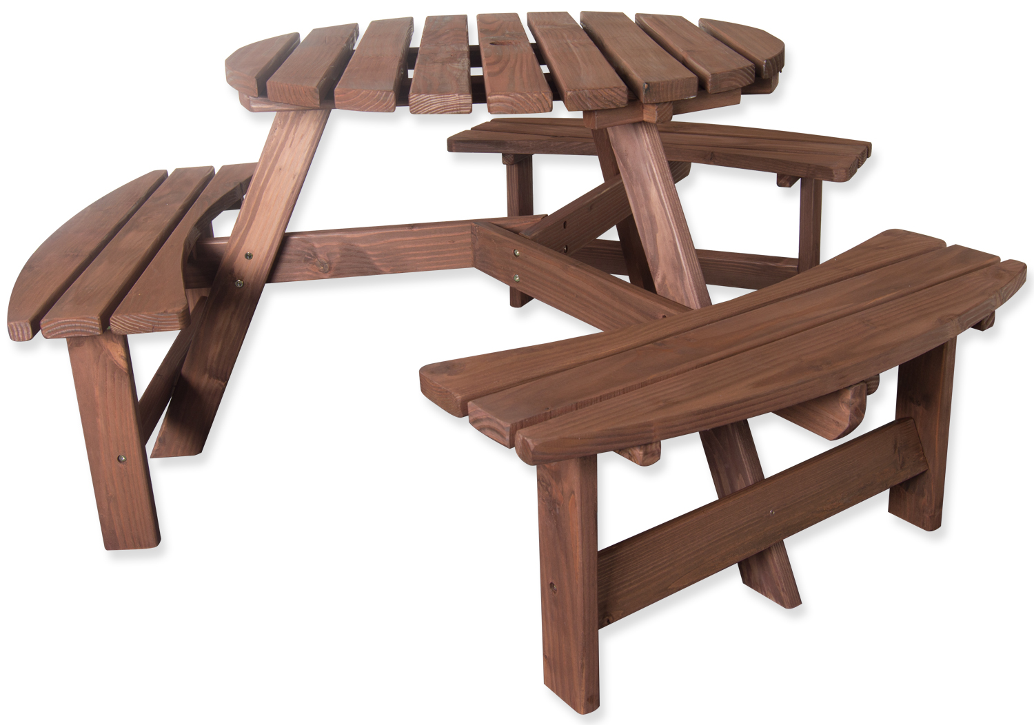 woodside 6 seater round pressure treated bench