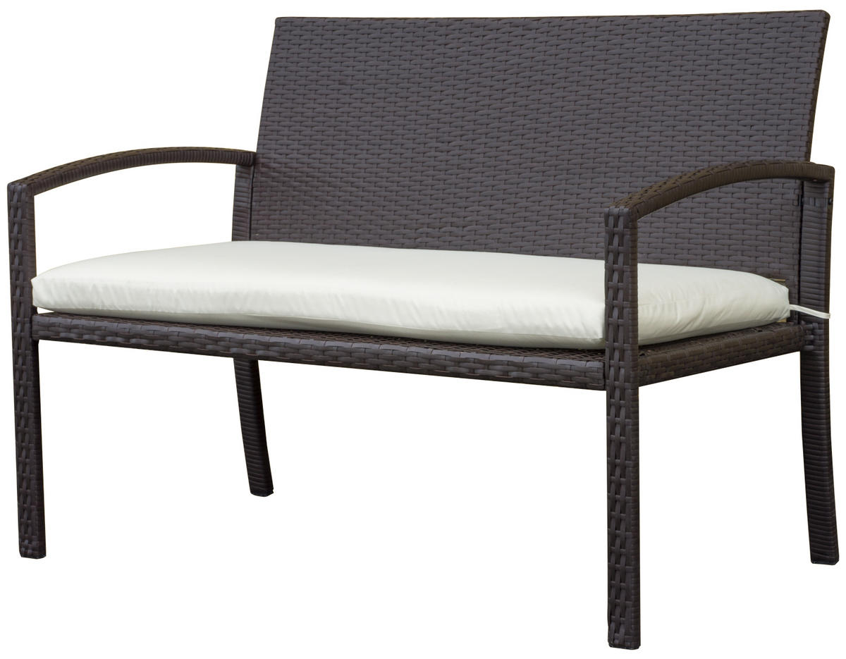 Woodside Brown Rattan Garden Bench