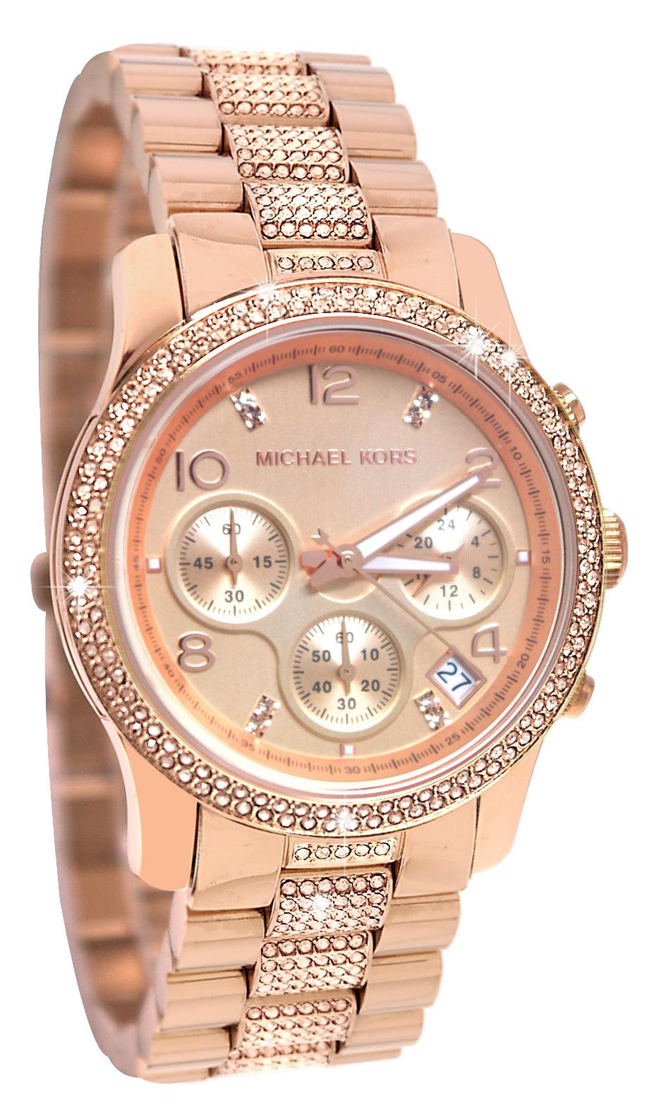 Michael Kors Ladies Runway Rose Gold Bracelet Chronograph ...