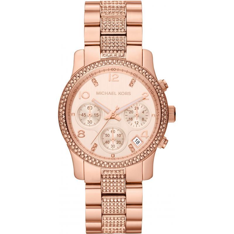 Michael Kors Ladies Runway Rose Gold Bracelet Chronograph