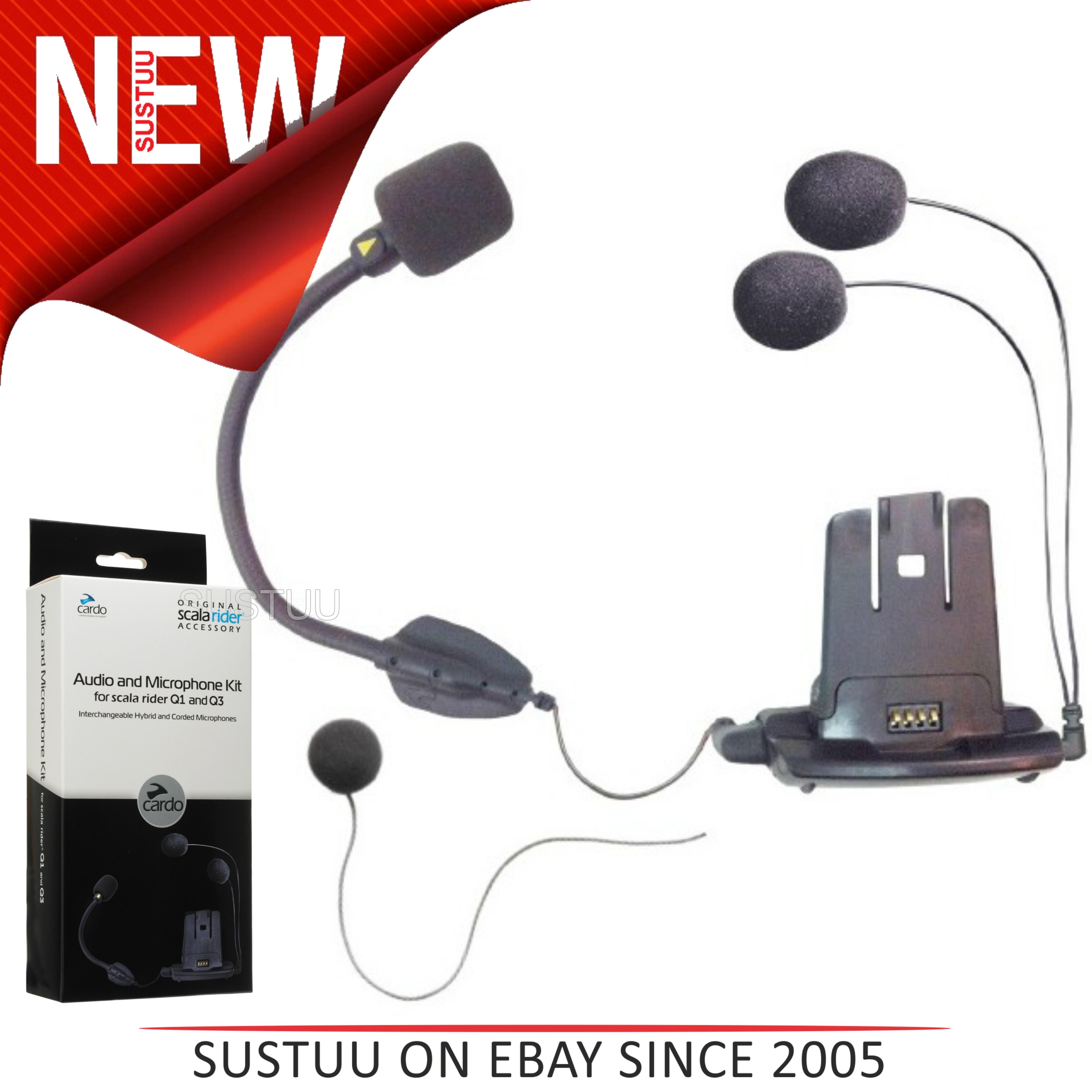 Cardo SCALA RIDER Helmet Audio & Microphone / Mic Kit with Hybrid & Corded Booms for Q1 Q3 Qz Units