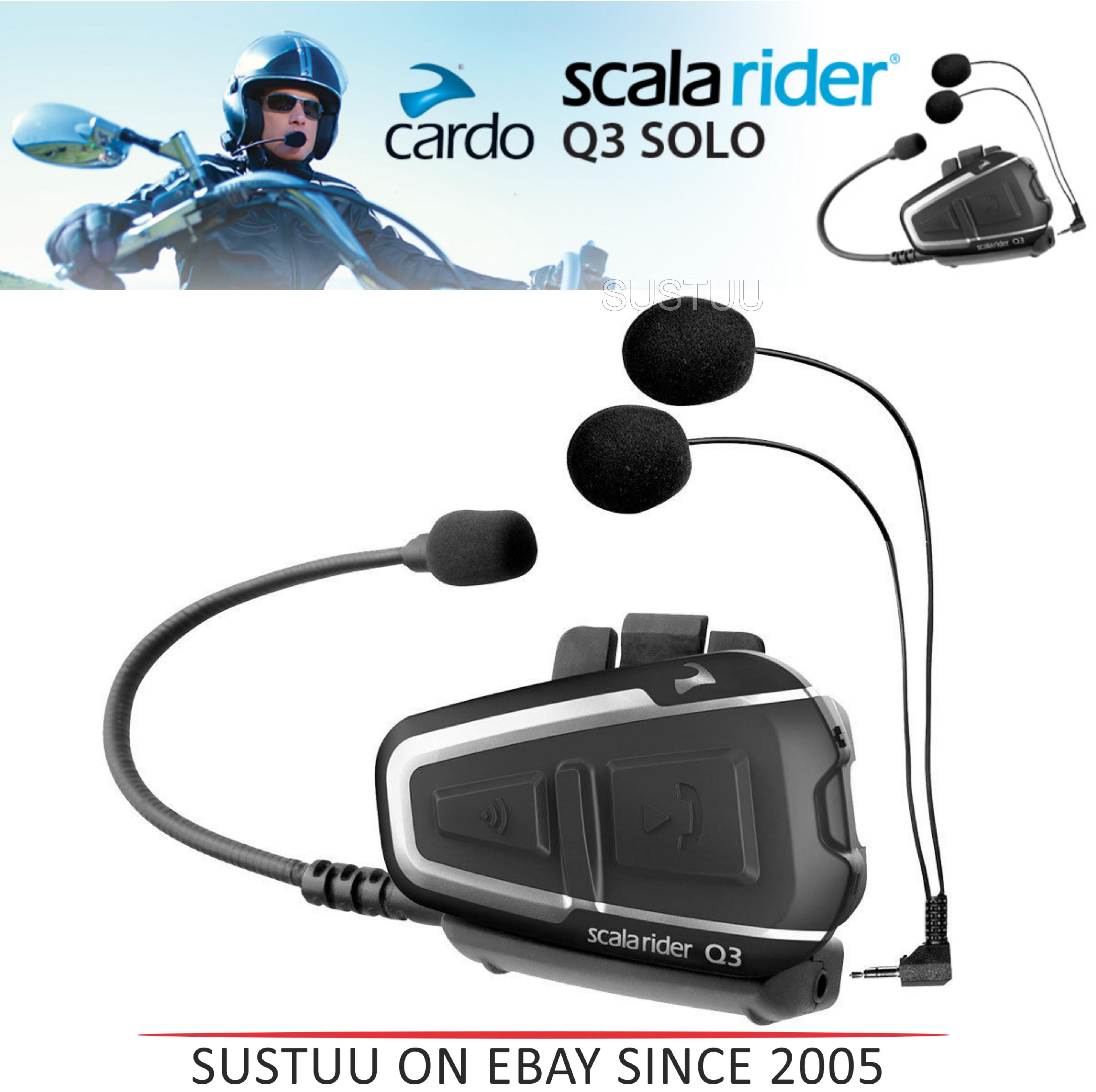 Cardo Scala Rider Q3 Solo Bluetooth Headset |  Motorcycle / Bike Helmet Intercom |  Black