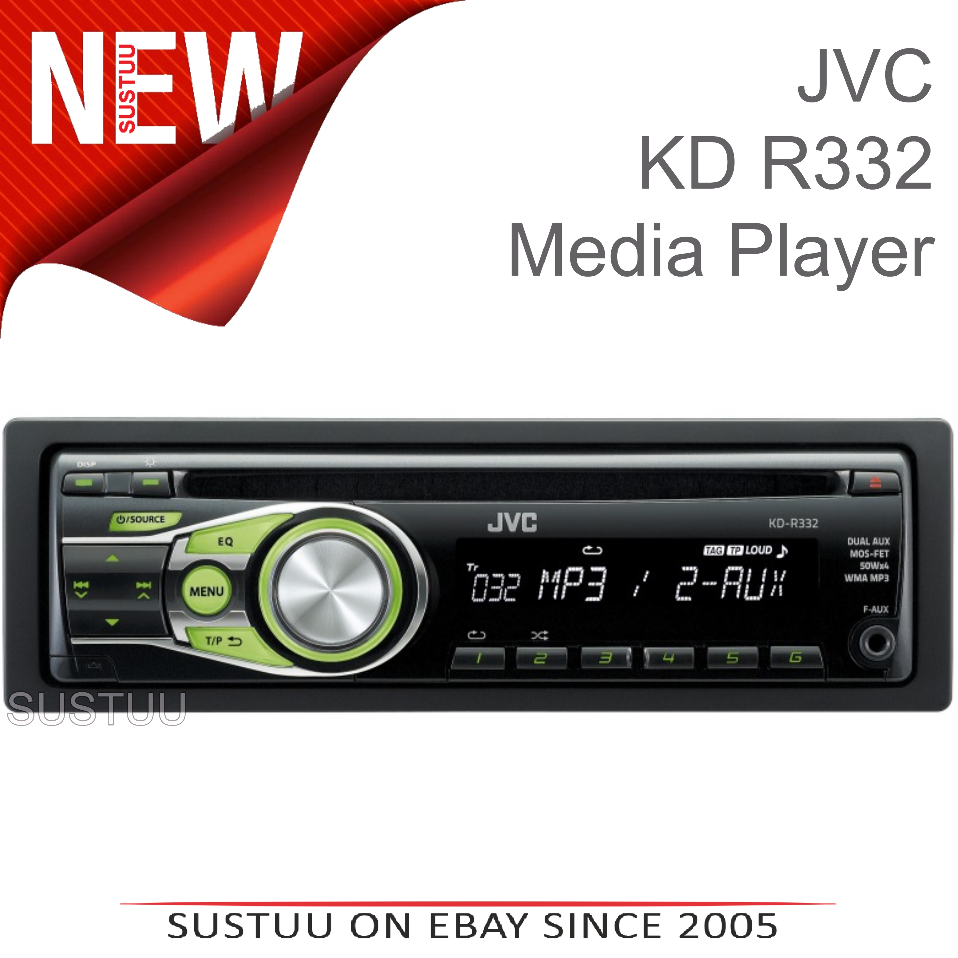 Sentinel JVC KD R332 CD MP3 Front AUX In Car Stereo Radio Head unit for  Apple Android