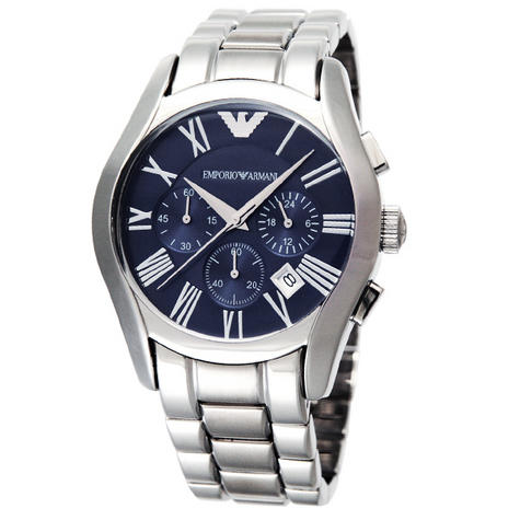 Emporio Armani Classic Gent's Stainless Steel Chronograph Blue Dial Watch AR1635 Thumbnail 2
