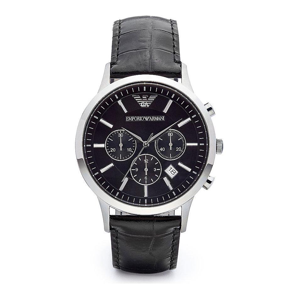 Emporio Armani Gent's Black Leather Strap Chronograph Designer Watch AR2447