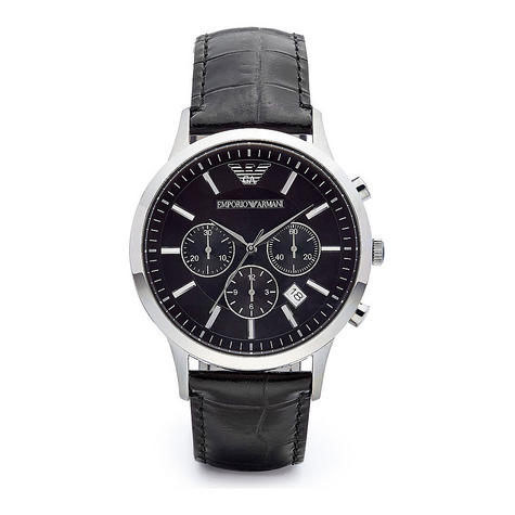 Emporio Armani Men's Black Leather Strap Chrono Design Steel Case Watch AR2447 Thumbnail 4