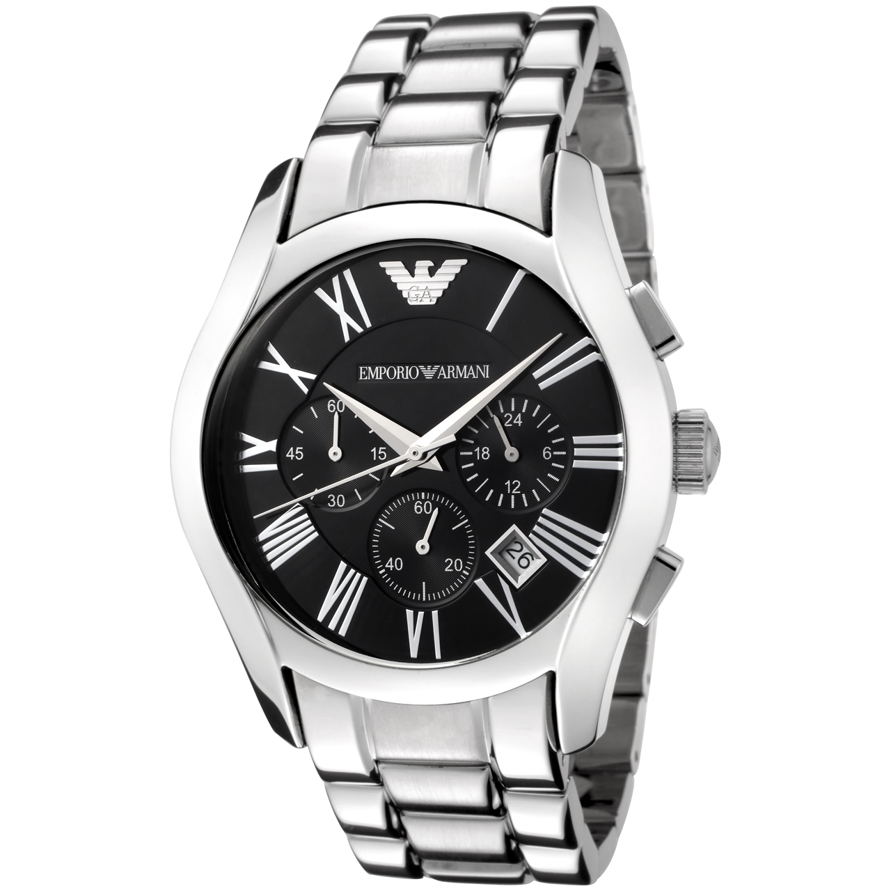 Emporio Armani Gents' Black Dial Stainless Steel Chronorgaph Round Watch AR0673