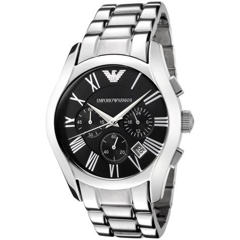 Emporio Armani Gents' Black Dial Stainless Steel Chronorgaph Round Watch AR0673 Thumbnail 1