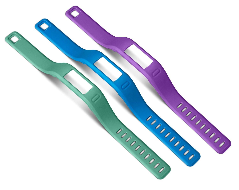 GENUINE Garmin Vivofit Large Wrist Bands Pack of 3 Purple/Teal/Blue 010-12149-00