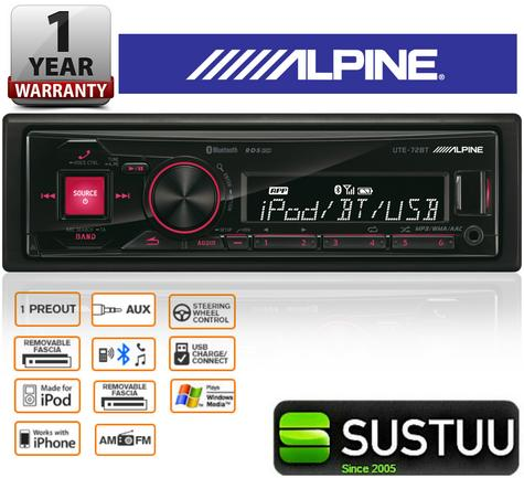 ALPINE UTE-72BT In Car Vehicle Mechless MP3 BLUETOOTH USB AUX iPhone iPod Stereo Thumbnail 1