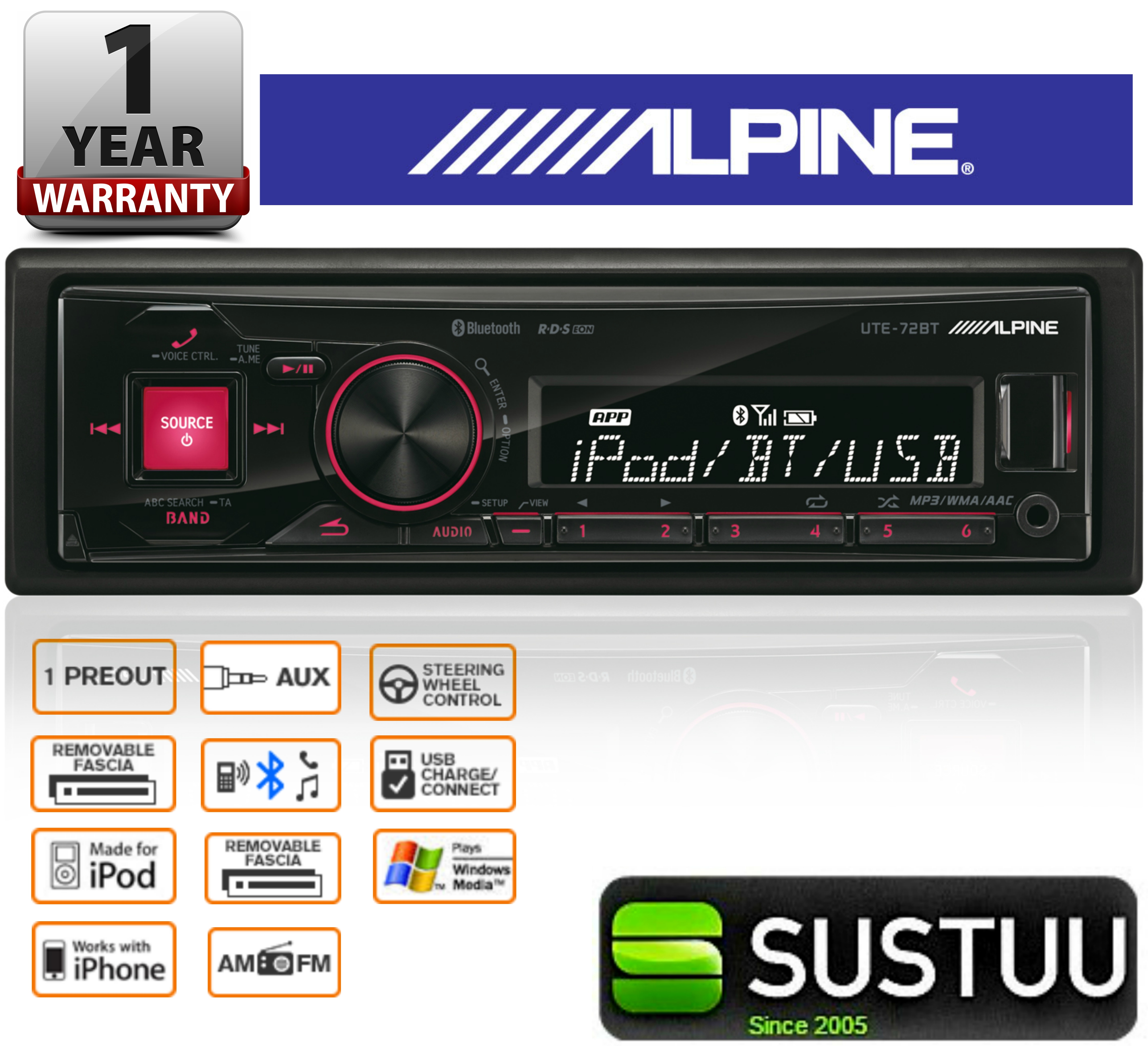 ALPINE UTE-72BT In Car Vehicle Mechless MP3 BLUETOOTH USB AUX iPhone iPod Stereo