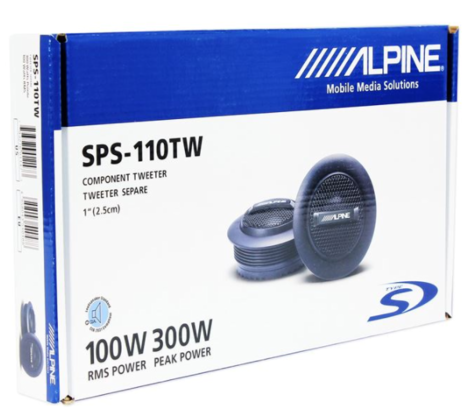 "Alpine SPS 110TW 1""Silk Dome Rms Component Tweeter Surface Mount Car Speaker NEW Thumbnail 3"
