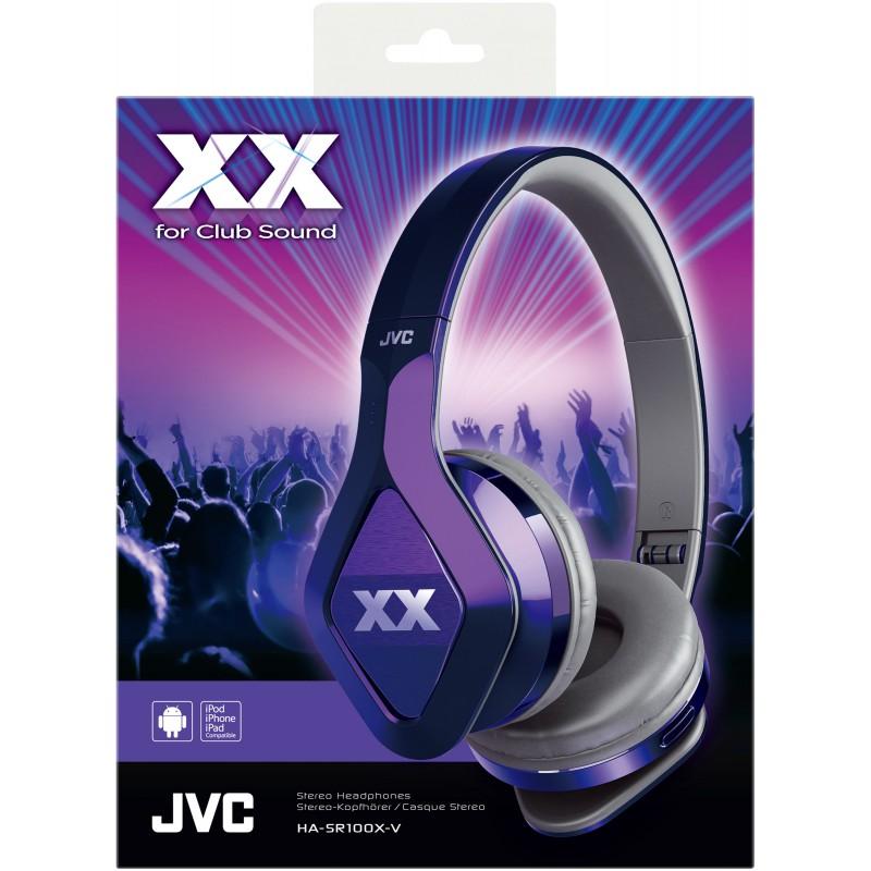 JVC XX Club on ear Headband Headphones with Mic & Remote HA-SR100X Violet Purple