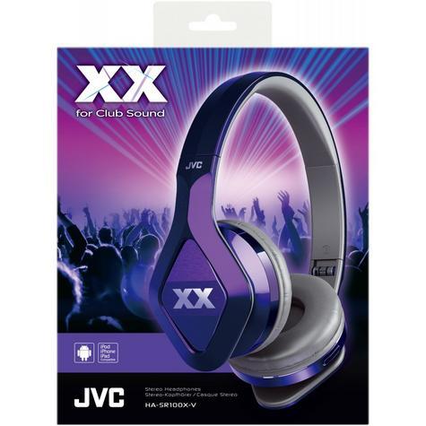 JVC XX Club on ear Headband Headphones with Mic & Remote HA-SR100X Violet Purple Thumbnail 1