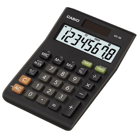 Casio MS8B Large 8 Digit Multi Function Tax VAT Desk Calculator Dual Solar Power Thumbnail 2