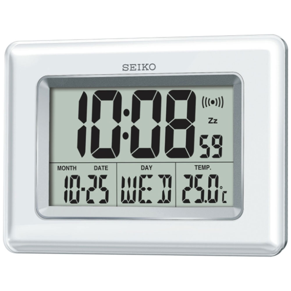seiko digital gro lcd bildschirm desktop wandmontage uhr mit temperatur ebay. Black Bedroom Furniture Sets. Home Design Ideas