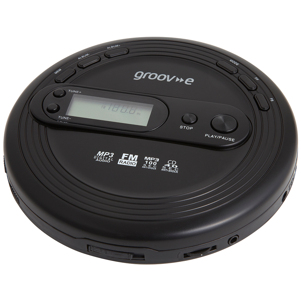 groov e gvps210bk retro series personal cd mp3 player with. Black Bedroom Furniture Sets. Home Design Ideas