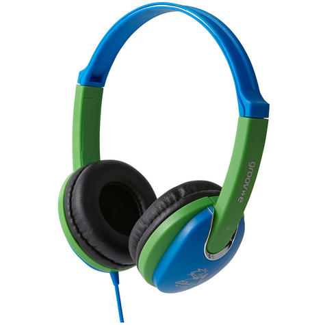 NEW Groov-e GV591 Kidz DJ Style Headphones with 85dB Volume Limiter - Blue/Green Thumbnail 2