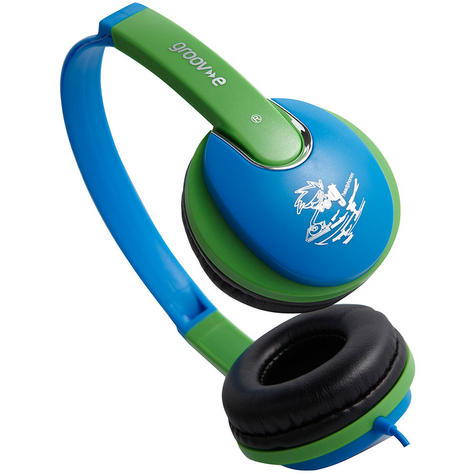 NEW Groov-e GV591 Kidz DJ Style Headphones with 85dB Volume Limiter - Blue/Green Thumbnail 4