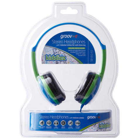 NEW Groov-e GV591 Kidz DJ Style Headphones with 85dB Volume Limiter - Blue/Green Thumbnail 5