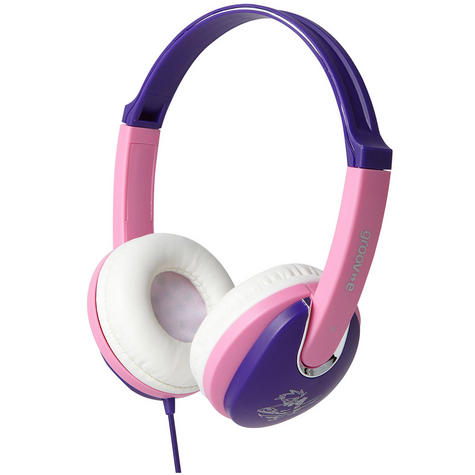 NEW Groov-e GV591 Kidz DJ Style Headphones with 85dB Volume Limiter Pink/Violet Thumbnail 2