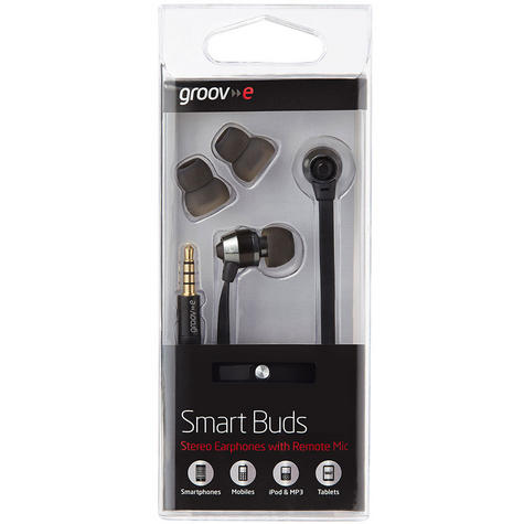 Groov-e Smart Buds Metal Earphones Remote & Mic MP3 iPhone Android GV-EB10BK Thumbnail 3