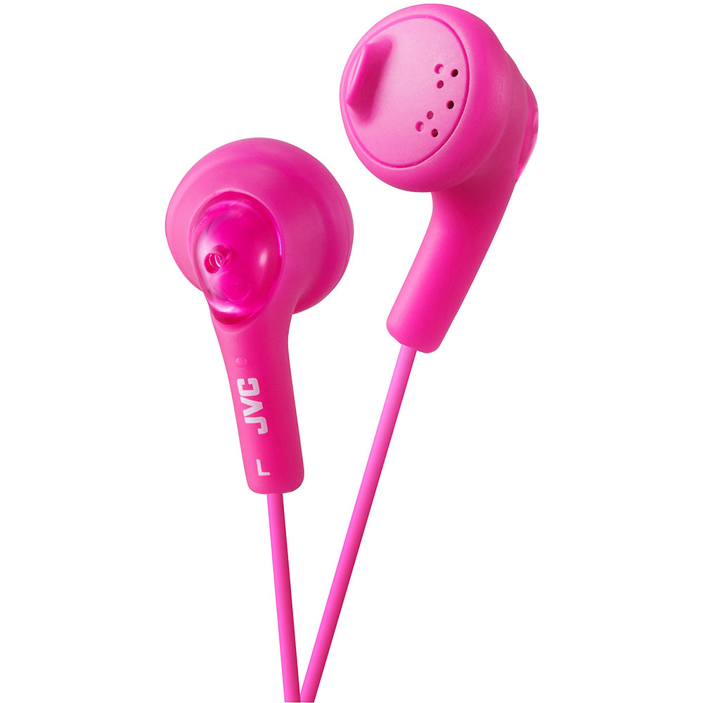 JVC HAF160PE Gumy Bass Boost Stereo Tangle Resistant Headphones - New Peach Pink