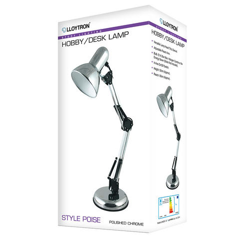 Lloytron L946CH Adjustable Hobby Desk Lamp / Reading Lamp / Polished Chrome / Thumbnail 3