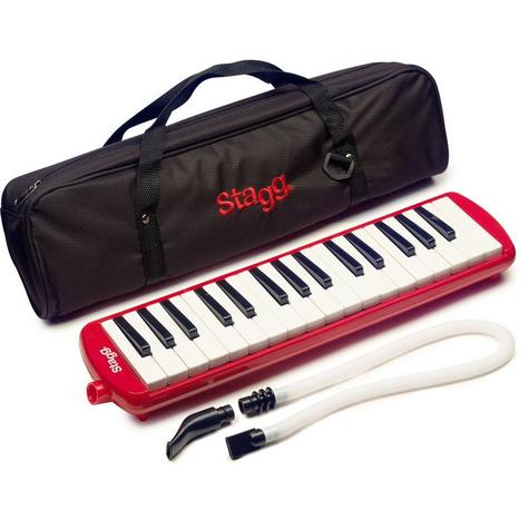 Stagg Melodica Red Music Reed 32 Keys Mouthpiece Piano Keyboard  - MELOSTA32RD Thumbnail 2
