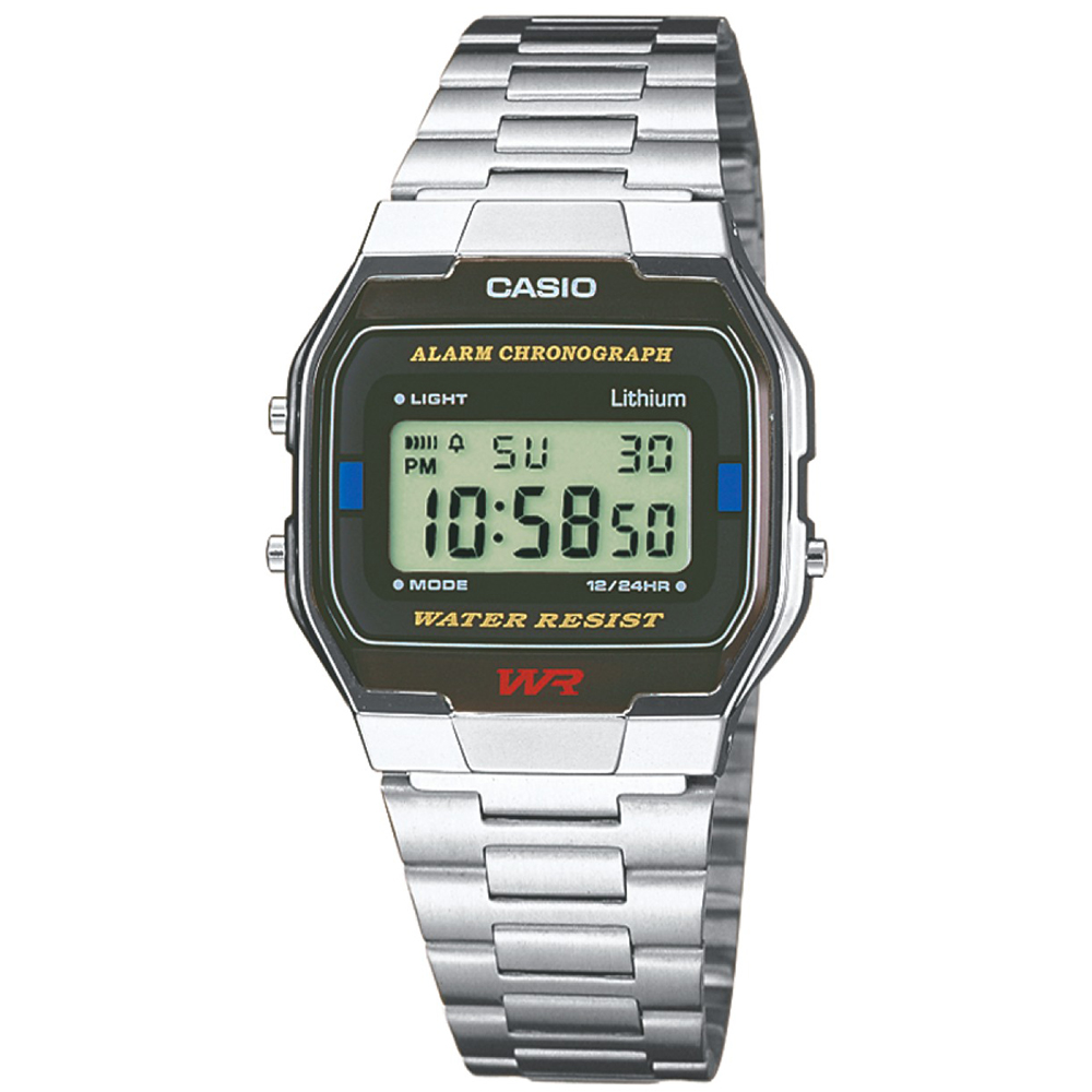 Casio A163WA-1QES Classic Digital Stainless Steel Wrist Watch Water Resistant 