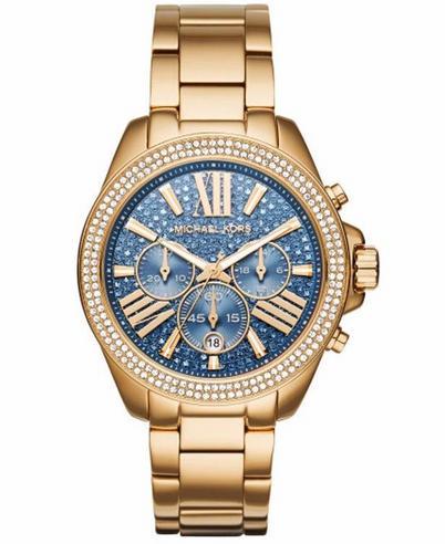 Michael Kors Ladies' Wren Blue Face Gold Tone Chronograph Designer Watch MK6291 Thumbnail 1