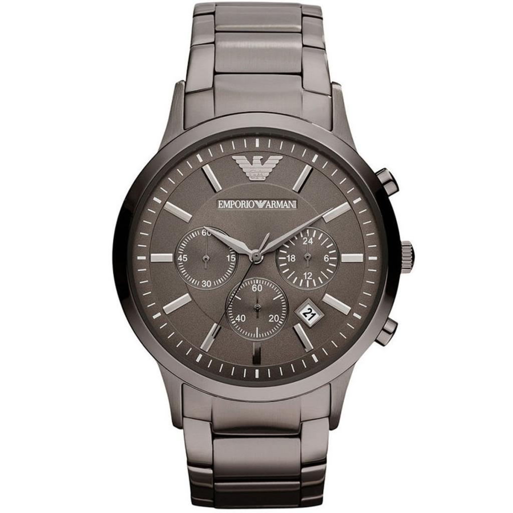 Emporio Armani Classic Gent's Chronograph Gunmetal Tone Bracelet Watch AR2454