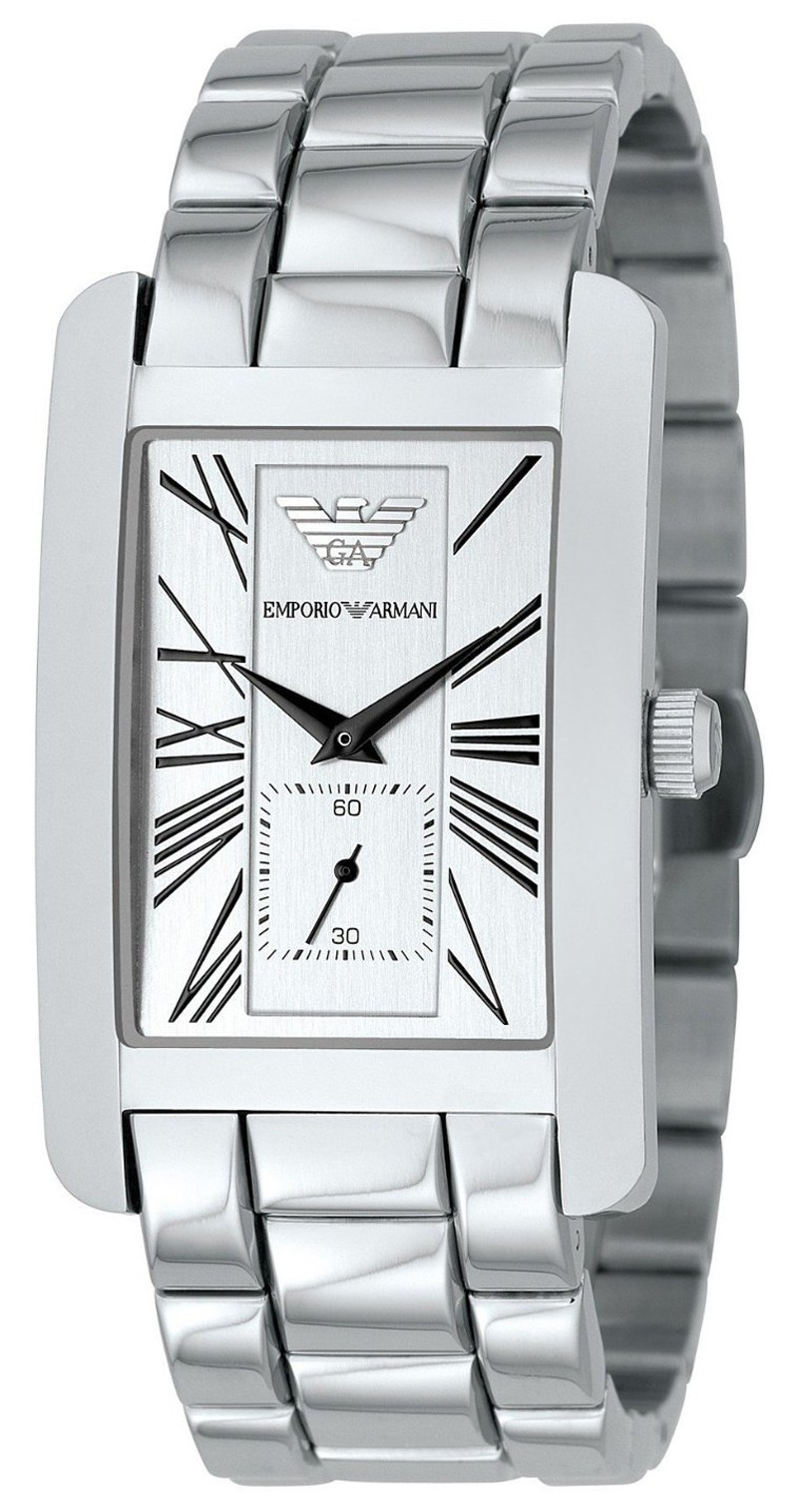 Emporio Armani Classics Series Stainless Steel Gents Square Face Watch AR0145