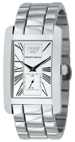 Emporio Armani Classics Series Stainless Steel Gents Square Face Watch AR0145 Thumbnail 1