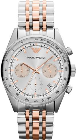 Emporio Armani Ladies' Sportivo Rose Gold & Silver Tone Designer Watch AR6010 Thumbnail 1
