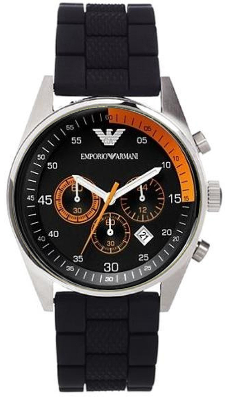 Emporio Armani Gent's Chronograph Black Stainless Steel Sports Watch AR5878