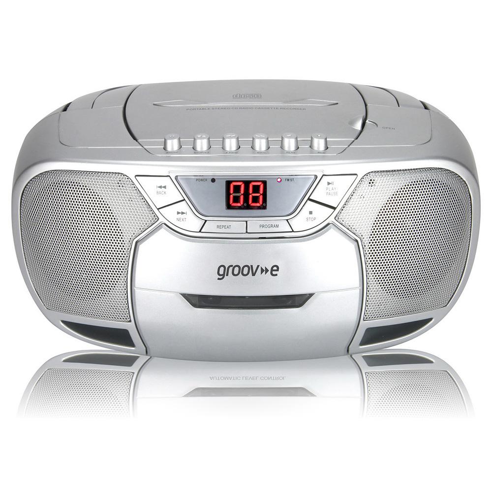groov e gvps823 sr classic boombox portable cd cassette. Black Bedroom Furniture Sets. Home Design Ideas