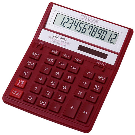 NEW Citizen SDC888XRD Solar & Battery Dual Powered Office Calculator(RED) Thumbnail 1